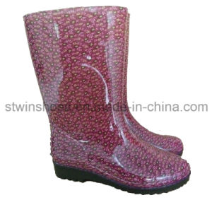 Fashion Lady Waterproof Rain Shoes with Printing Flower