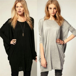 Women′s Summer Long Tops Loose Leisure Batwing T-Shirts pictures & photos