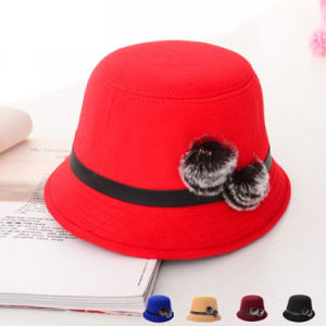 Women Fashion Rabbit Fur Ball Wool Knitted Bucket Hat (YKY3233) pictures & photos
