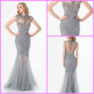 Crystal Party Cocktail Gown Silver Mermaid Sheer Evening Prom Dress Ter1521 pictures & photos