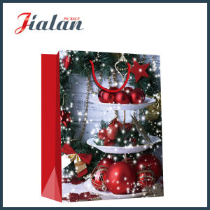128GSM Glossy Laminated Art Paper Christmas Bells Gift Paper Bag pictures & photos