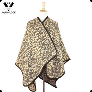 Women New Fashion Jacquard Leopard Shawl and Poncho pictures & photos