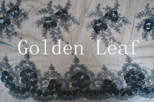 Mixed Embroidery Special Embroidery for 3mm Spangle Pure White Nylon Mesh Wedding Dress (SLS2132)