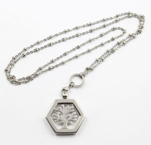 Silver Stainleel steel Floating Locket Pendant with Life of Tree Coin Necklace pictures & photos