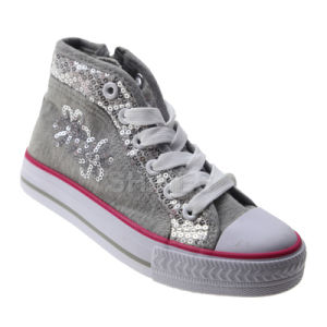 Hand Sewing Sequins High Top Vulcanized Shoes for Girls