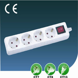 Four Ways European Electrical Extension Socket with Switch pictures & photos