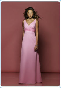 Floor Length Pink Gorgeous V Neck Evening Party Dresses pictures & photos