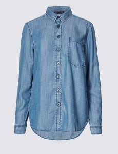 Plain Slim Fit Checked Denim Shirt pictures & photos