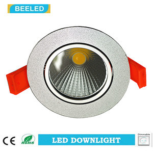 Dimmable LED COB Downlight 3W Warm White Aluminum Sand Silver