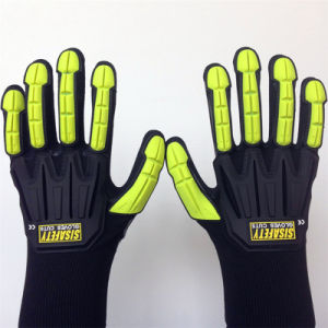 High Elastic Poly Glove with Sandy Nitrile Double Dipped, TPR Sewing pictures & photos