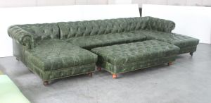 Green Leather KTV Sofa, Button Leather Sofa, Classic L Shape Sofa with Ottoman Tde-02 pictures & photos