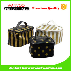 Unisex Stripe Pattern PU Cosmetic Bag with Big Volume for Travel Outside pictures & photos