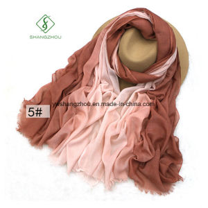 2017 Newest Lady Fashion Satin Cotton Scarf with Hand-Painted pictures & photos