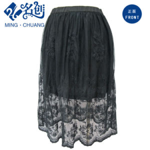 Fashion Black Short Skirt with Perspective Mesh Women′s Summer Clothing pictures & photos