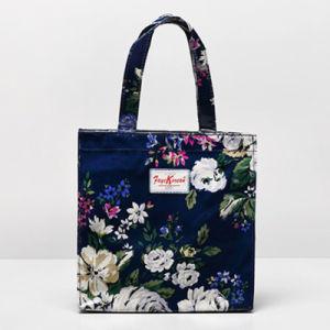 Small Size White Flowers Pattern Blue Canvas Handbag (2293-26)