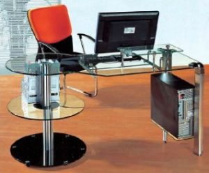 Metal Modesty Panel Glass Computer Table /Desk (HX-GL048) pictures & photos