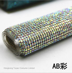 Hotfix Adhesive Rhinestone Sheets Hot Fix Crystal Rhinestone Mesh Trimming Roll (TM-ss6) pictures & photos