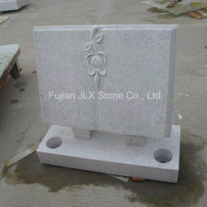 Pearl White Granite Open Book Headstone with Rose pictures & photos