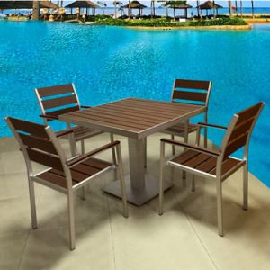 Wooden Patio Balcony Garden Furniture Gary Aluminum Cafe Bistro Chair Table Set pictures & photos