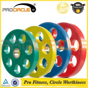 Seven Holes Olympic Rubber Coated Iron Weight Plates (PC-BP1045-1055) pictures & photos