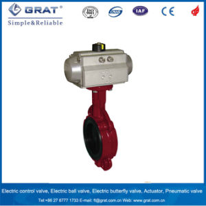 Ductile Iron Wafer Type Pneumatic Butterfly Valve pictures & photos