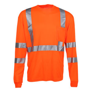 Long Sleeve Reflective Safety Shirt Wholsale with Rib Neck