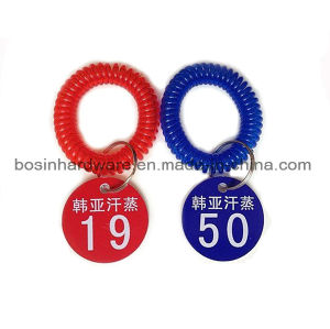 Round Plastic Key Tag with Wrist Spiral pictures & photos