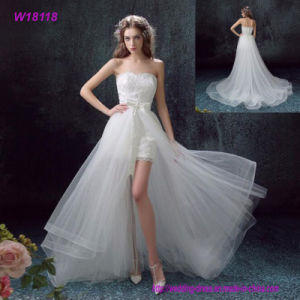 Vintage Lace Applique Elegant White Short-Length with Ruched Tulle Wedding Dress pictures & photos