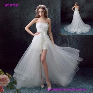 Vintage Lace Applique Short-Length Tulle Wedding Dress pictures & photos