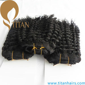 Natural Black Brazilian Kinky Curly Human Hair Weft pictures & photos