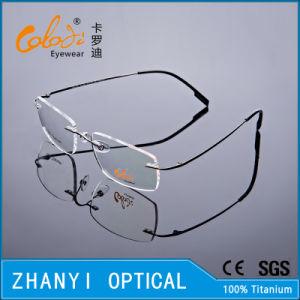 Lightweight Rimless Titanium Eyeglass Eyewear Optical Glasses Frame with Hinge (8510-C1)