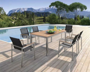 Garden Aluminum Polywood Top Table and Textilene Chairs