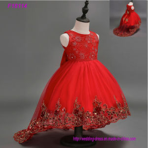 Flower Girls Dresses for Weddings Ball Gown Beaded Sequins Sweep Train Cheap Pink Girl Communion Dress pictures & photos