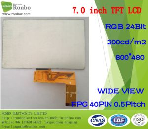 "7.0"" 800*480 RGB 40pin 200CD/M2 Wide View TFT LCD Display pictures & photos"