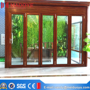Aluminium Frame Wooden Grain Glass Folding Door pictures & photos