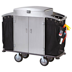 Hotel Housekeeping Cart with Door with Lockable Lid and Door pictures & photos