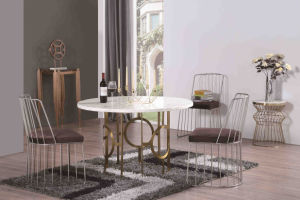 Six Sets Marble Dining Table with Steel Legs pictures & photos