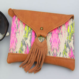 Boho Canvas Contrast PU Purse, Multicolor Women Canvas Wallet Fashion Accessory pictures & photos