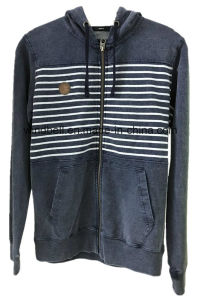 100% Cotton Yarn Dye Jean Hoody Jacket for Men with Terry pictures & photos