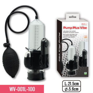 """8"""" Penis Pump with Soft and Stretchy Silicone Sleeve and Big Bulb. Mounted with Multi-Speed Vibrator, pictures & photos"""