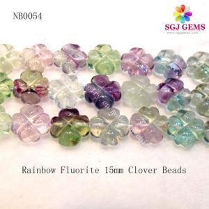 Rainbow Fluorite Clover Beads, Natural Gemstone Beads (NB0054)
