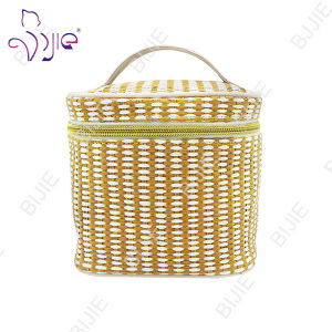 Straw Mat Square Large Capacity Cosmetic Pouch Bag pictures & photos