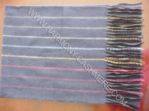 Pure Cashmere Scarf with Stripe (HM-SC09009) pictures & photos