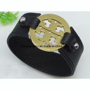 Leather Bangle with Stainless Steel Clasp Bracelet (AB10)
