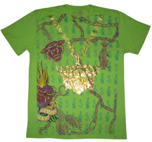 Discharge Printing T Shirts With Gold Foil