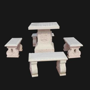 White Marble Carving Table and Bench Set pictures & photos