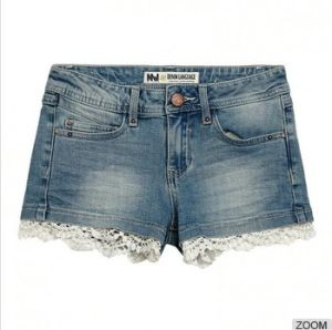 Sexy Women Jeans with Lace Hem Combination pictures & photos