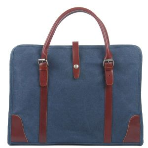 Canvas Fabric Unisex Washed Hand Bag Fashion Leather Trims Canvas Laptop Bag (RS-8571D) pictures & photos