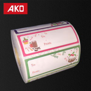 Coated Art Paper Layer Holt Melt for Low Temperature Glassine Liner Paper Roll Christmas Label Printed Label pictures & photos