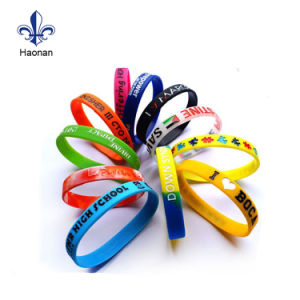 Cheap Price Custom Logo Debossed Ink Silicone Bracelet pictures & photos